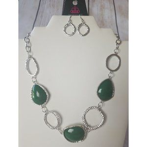 Paparazzi Green and Silver Necklace and Earrings